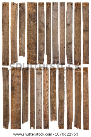 Wooden planks isolated on white background. Set of 22 unique long rustic weathered wood plank with rusty nails, sharp and highly detailed for design and 3d modeling.