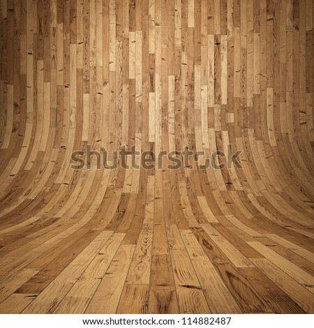Wooden planks Room with wooden floor and walls