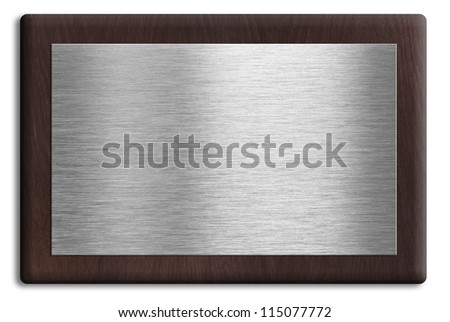 Wooden plaque with silver plate isolated on white. Clipping path is included.