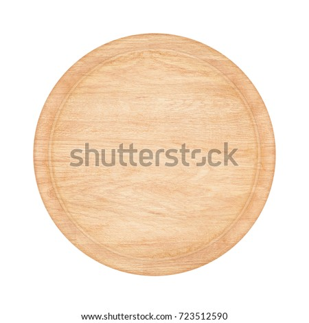 Wooden plate dish circle, wooden plate below, isolated from white background. #723512590