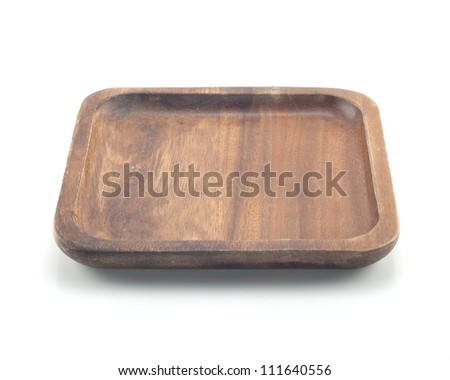 Wooden plate isolated white background.