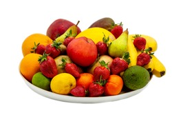 Wooden plate of fruits (apple, pear, melon, mango, mandarin, banana, strawberry) on a white background, isolated