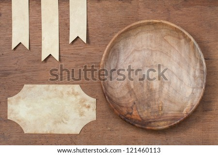 Wooden Plate, Paper Labels On Oak Wood Texture Background