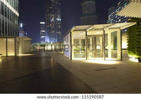 wooden platform around by office building,lujiazui ,shanghai