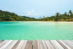 Wooden platform beside tropical beach at Koh Kood island ,