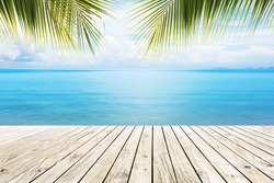 Wooden platform beside tropical sea