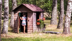wooden playhouse made of wood, brown; the girl enters the house; a small house between large birch trunks