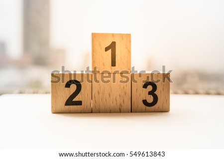 wooden podium standing on white background #549613843