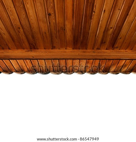 wooden portico's ceiling made of softwood matchboards