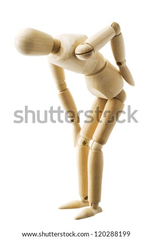Wooden pose puppet isolated on white background