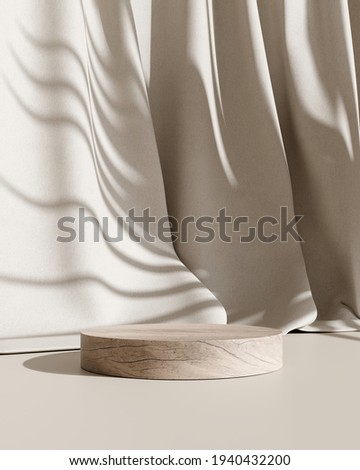 Wooden product display podium stand with brown curtain background. 3D rendering