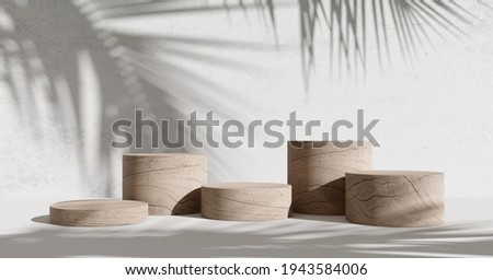 Wooden product display podium with shadow nature leaves on white background. 3D rendering  Stockfoto ©
