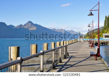 Wooden promenade at Queenstown, New Zealand