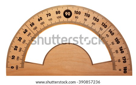 Wooden protractor isolated on white. Clipping path included.