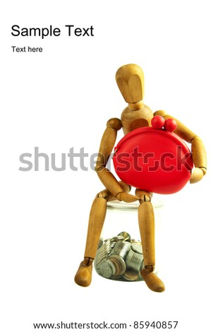 wooden puppet holding a pocket and sitting on jar with coins, finance concept saving money for the future