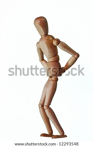 Wooden puppet set as someone with a back pain. White background with no shadow.