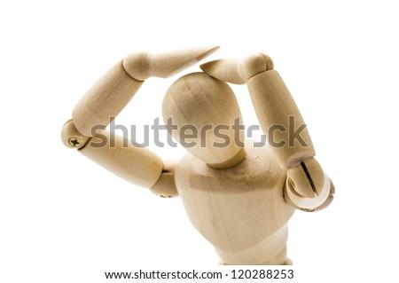 Wooden puppet suffer distress, at a loss