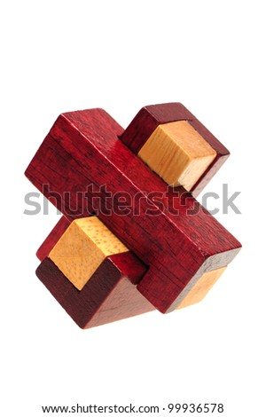 wooden puzzle over white background