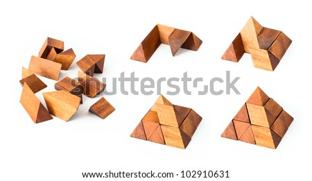 Wooden pyramid puzzle, from start to end building