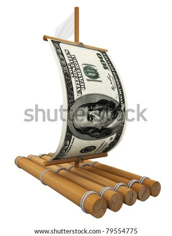 Wooden raft with dollar
