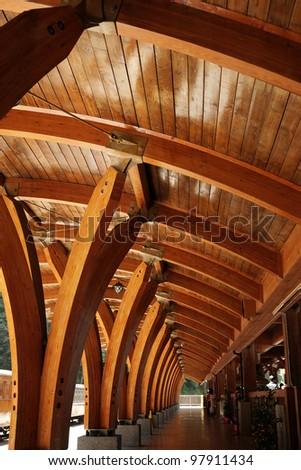 wooden railway station - stock photo