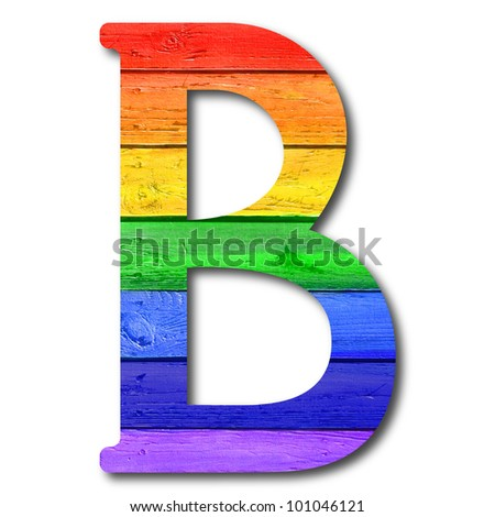 "Wooden rainbow alphabet with numbers and marks based on author's original hand drawn font. ""B"""