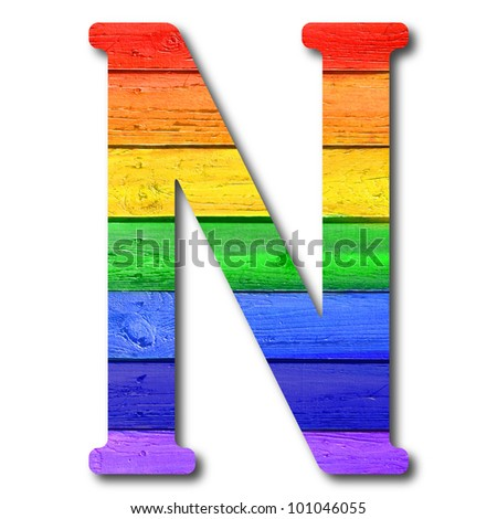 """Wooden rainbow alphabet with numbers and marks based on author's original hand drawn font. """"N"""""""
