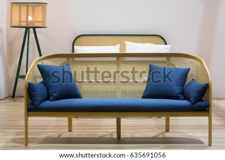 wooden rattan wicker sofa with...