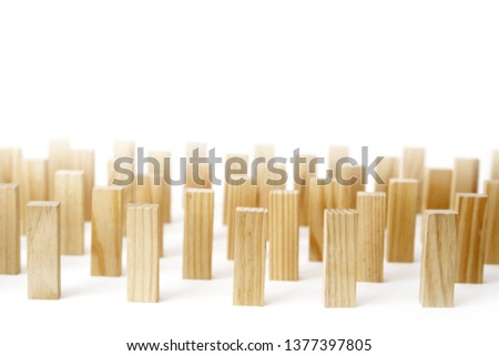 Wooden rectangles arranged differently over a white background. Copy space. Cover background template for the presentation, brochure, web, banner, catalog, poster, book, magazine  #1377397805