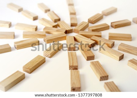 Wooden rectangles arranged differently over a white background. Copy space. Cover background template for the presentation, brochure, web, banner, catalog, poster, book, magazine  #1377397808