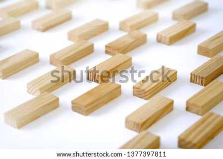 Wooden rectangles arranged differently over a white background. Copy space. Cover background template for the presentation, brochure, web, banner, catalog, poster, book, magazine  #1377397811