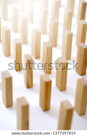 Wooden rectangles arranged differently over a white background. Copy space. Cover background template for the presentation, brochure, web, banner, catalog, poster, book, magazine  #1377397814