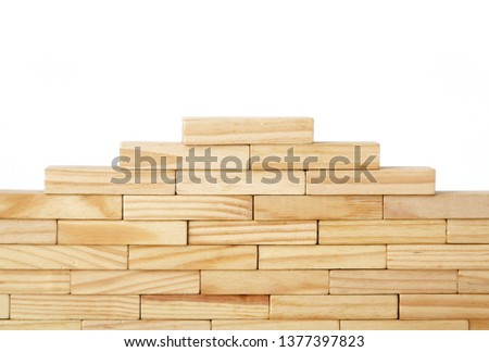 Wooden rectangles arranged differently over a white background. Copy space. Cover background template for the presentation, brochure, web, banner, catalog, poster, book, magazine  #1377397823