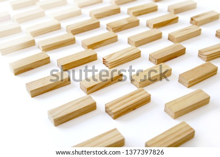 Wooden rectangles arranged differently over a white background. Copy space. Cover background template for the presentation, brochure, web, banner, catalog, poster, book, magazine  #1377397826