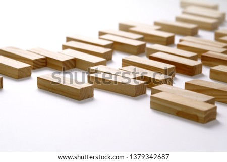 Wooden rectangles arranged differently over a white background. Copy space. Cover background template for the presentation, brochure, web, banner, catalog, poster, book, magazine  #1379342687