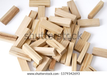 Wooden rectangles arranged differently over a white background. Copy space. Cover background template for the presentation, brochure, web, banner, catalog, poster, book, magazine  #1379342693
