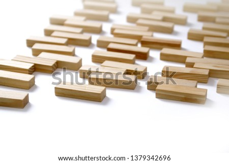 Wooden rectangles arranged differently over a white background. Copy space. Cover background template for the presentation, brochure, web, banner, catalog, poster, book, magazine  #1379342696