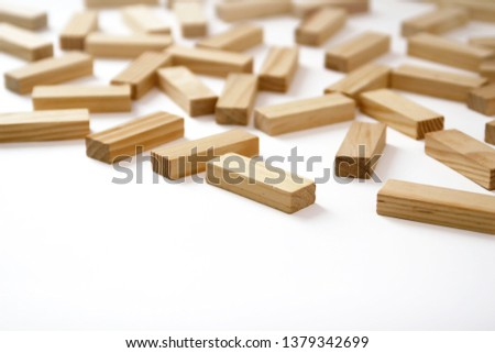 Wooden rectangles arranged differently over a white background. Copy space. Cover background template for the presentation, brochure, web, banner, catalog, poster, book, magazine  #1379342699