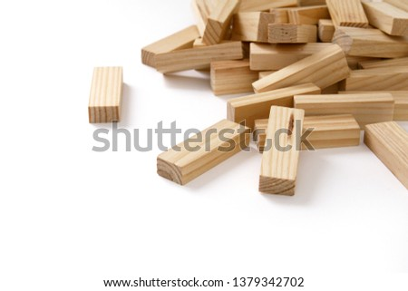 Wooden rectangles arranged differently over a white background. Copy space. Cover background template for the presentation, brochure, web, banner, catalog, poster, book, magazine  #1379342702