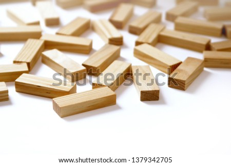 Wooden rectangles arranged differently over a white background. Copy space. Cover background template for the presentation, brochure, web, banner, catalog, poster, book, magazine  #1379342705
