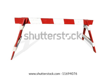 Wooden red and white striped road construction barrier - isolated on white