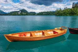 Wooden rent boat on a Bled lake - famous tourist destination in Slovenia, Europe