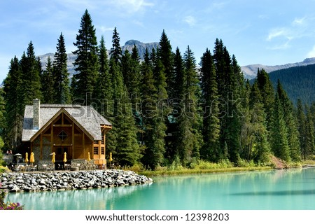 Wooden retreat on Emerald lake, Yoho national park, Canadian Rockies