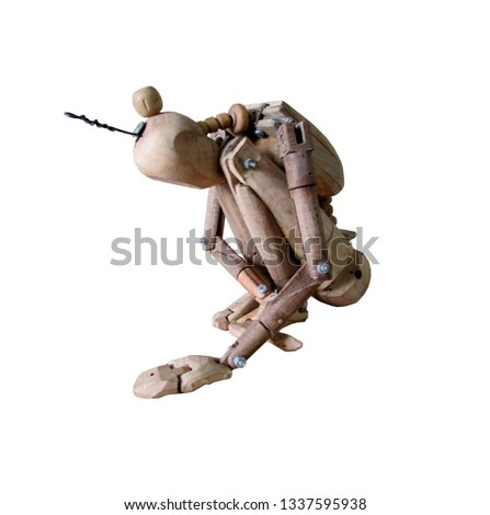 Wooden robot - dummy found something. His curiosity has no limits. #1337595938