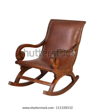 wooden rocking chair isolated...