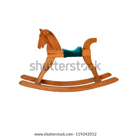wooden rocking horse chair children on white background with blue leather