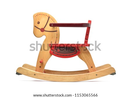 Wooden Rocking Horse with color paint isolated on white background with clipping path, Child's toy stock photo