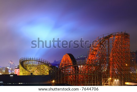 Wooden Roller Coaster in a greatest amusement park in Scandinavia - Liseberg