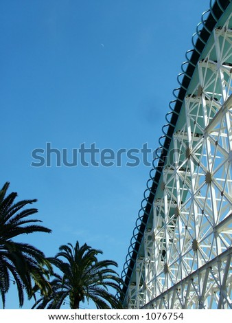 Wooden Roller Coaster in California with Palm Trees
