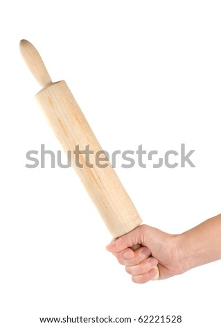 Wooden rolling pin in a human arm
